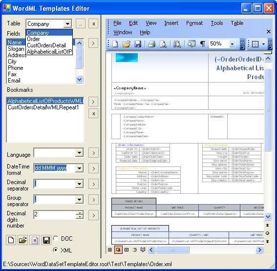wordml中的模板编辑器的数据可视化使用office2003